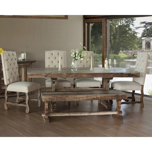 International Furniture Direct Marquez Dining Set with Bench and Upholstered Chairs