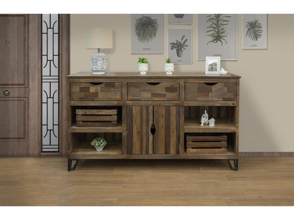 International Furniture Direct Maya3 Drawer, 2 Door Console