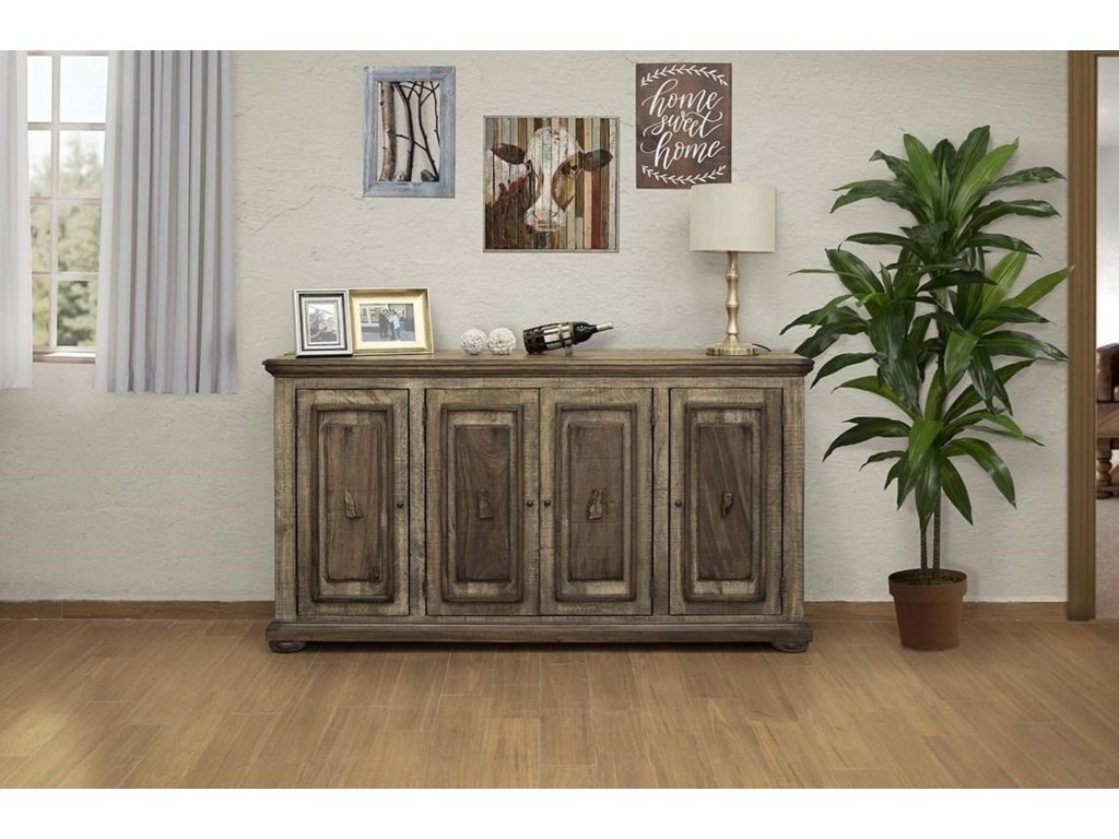 International Furniture Direct Mesquite4 Wooden Doors Console