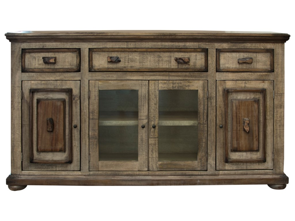 International Furniture Direct Mesquite2 Glass and 2 Wooden Doors Console