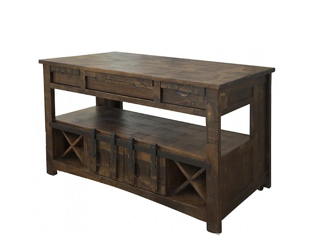 International Furniture Direct Mezcal Rustic Kitchen Island With Wine Bottle Storage