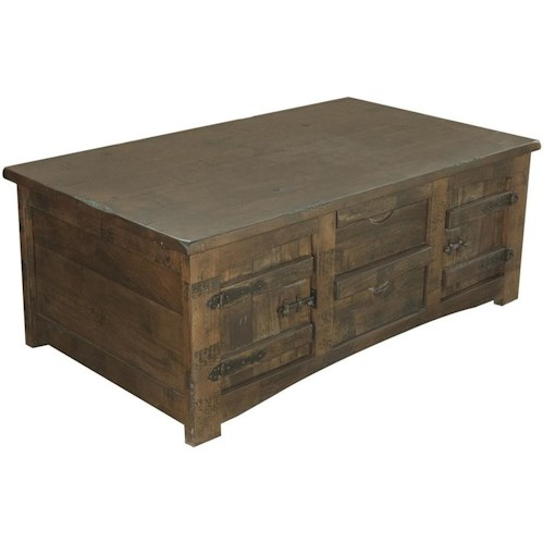 International Furniture Direct Mezcal Rustic Solid Wood Cocktail Table With 4 Drawers and 4 Doors