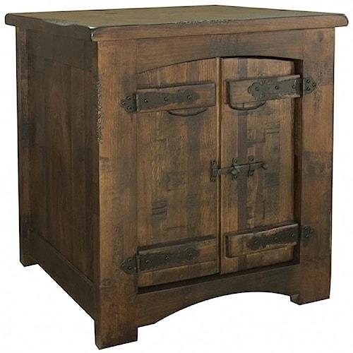 International Furniture Direct Mezcal Rustic Solid Wood 1 Door End Table