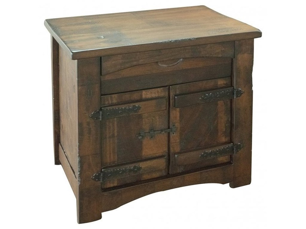 International Furniture Direct Mezcal1 Drawer, 2 Door Nightstand