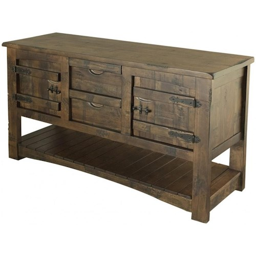 International Furniture Direct Mezcal Rustic Solid Wood Sofa Table With 2 Drawers and 2 Doors