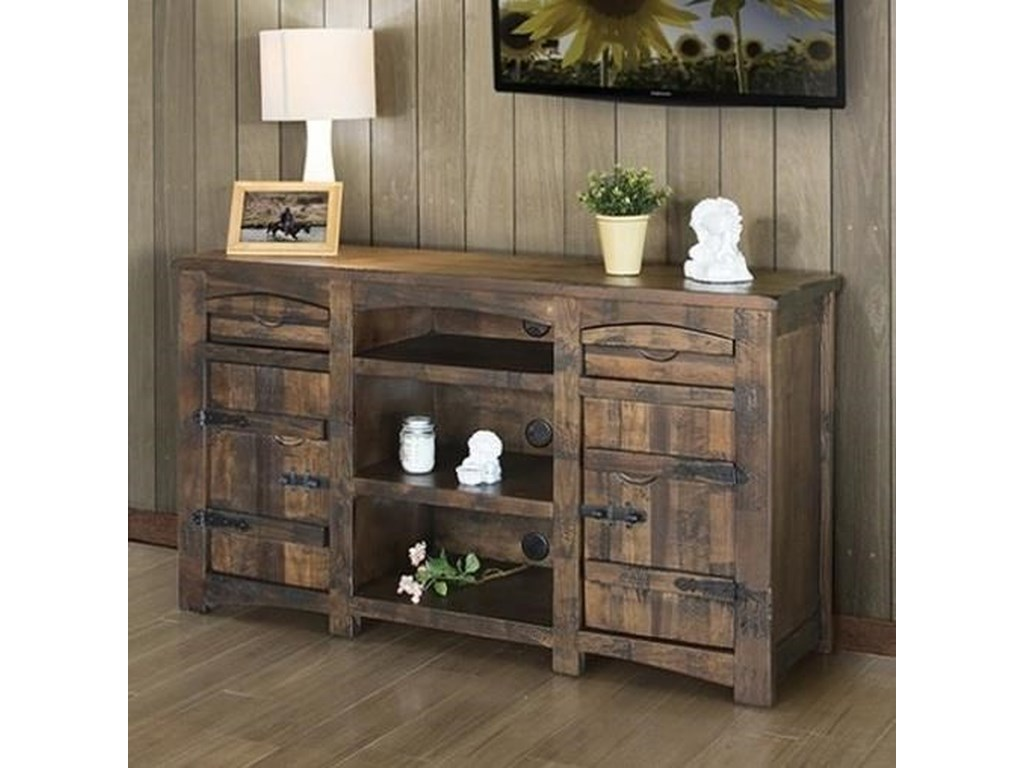 International Furniture Direct Mezcal Rustic Solid Wood 60 Tv Stand
