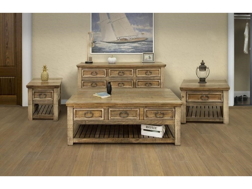 International Furniture Direct MontanaChair Side Table with 1 Drawer