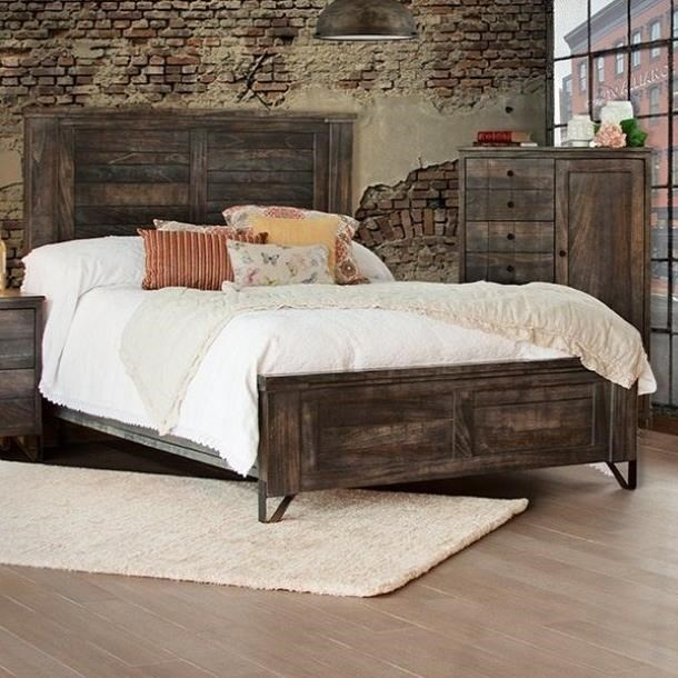 International Furniture Direct Moro Contempoary Solid Wood Queen Low  Profile Bed