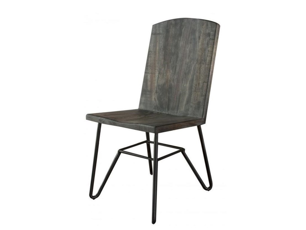International Furniture Direct MoroSolid Parota Chair with Iron Base