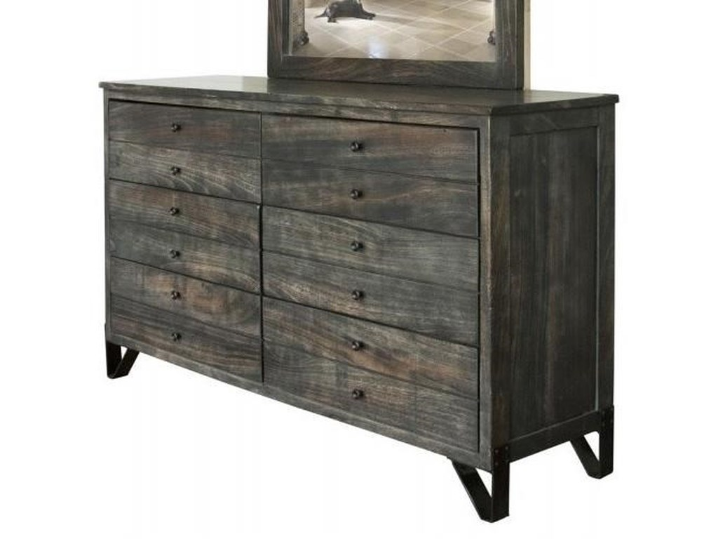 Moro Contemporary 6 Drawer Solid Wood Dresser With Hand Wrought Iron Feet By International Furniture Direct At Steger S Furniture
