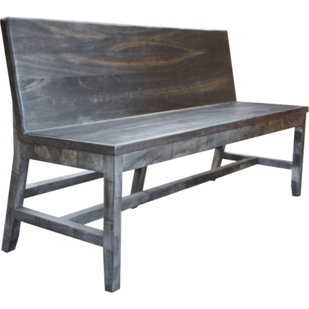 Solid Wood Bench with Back Rest