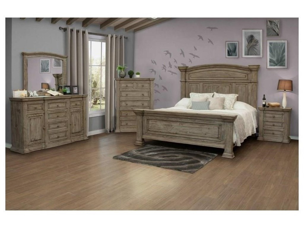 International Furniture Direct PalaceKing Bed, Dresser, Mirror & Nightstand