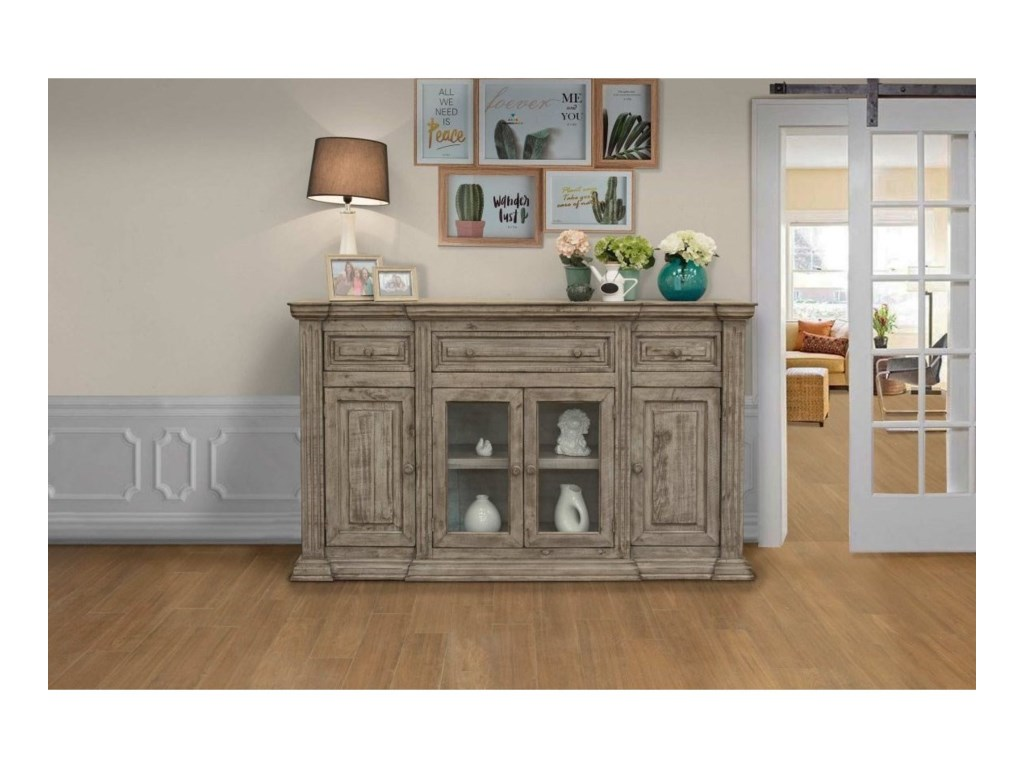 International Furniture Direct Palace3-Drawer, 4-Door Console