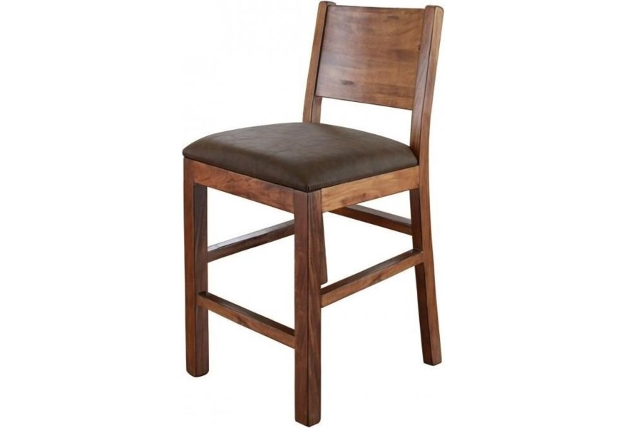 Bar Stool With Faux Leather Seat