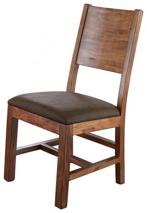 International Furniture Direct ParotaChair w/ Solid Wood Back & Faux Leather Seat