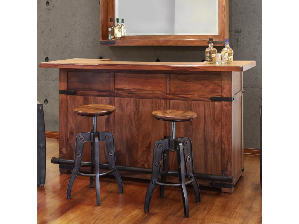 International Furniture Direct Parota Wood Bar with Iron Footrest ...
