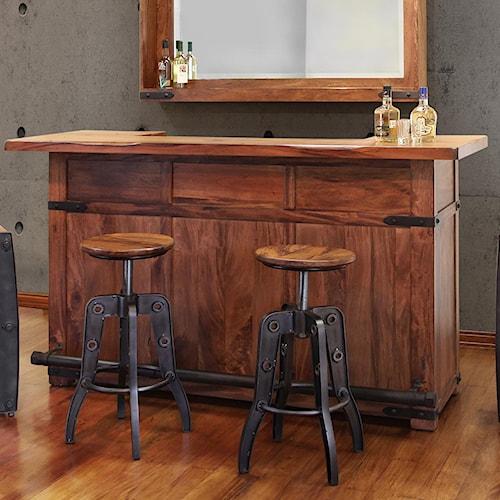 International Furniture Direct Parota Wood Bar with Iron Footrest