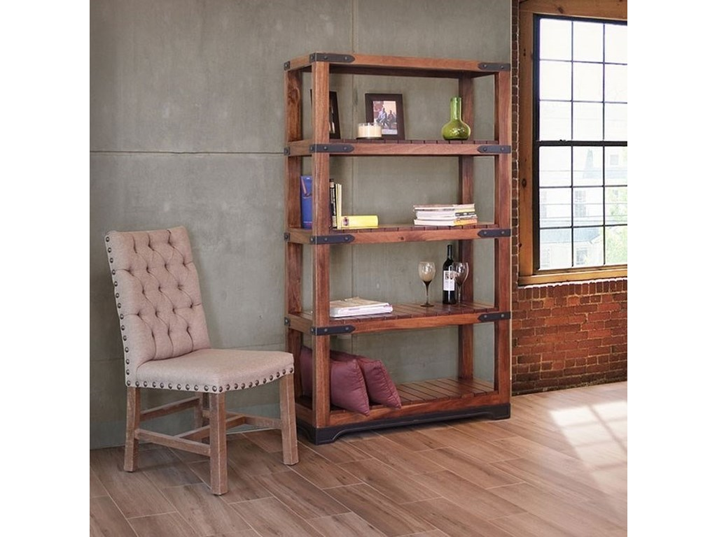 International Furniture Direct Parota4 Shelf Bookcase