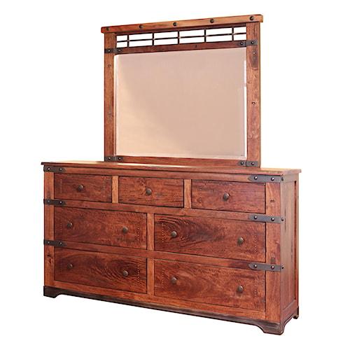 International Furniture Direct Parota 7 Drawer Dresser And Mirror Set With Wrought Iron Base