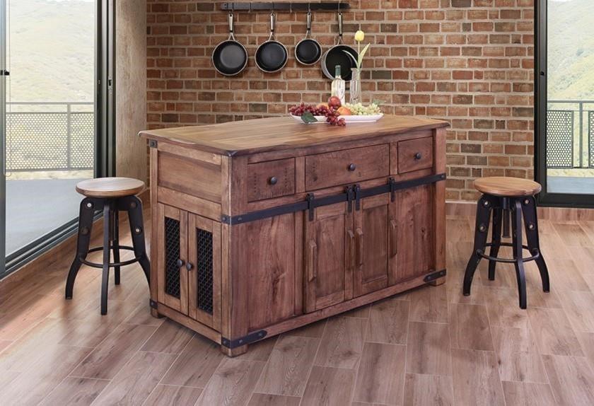 International Furniture Direct Parota IFD866ISLAND 3 Drawer Kitchen ...