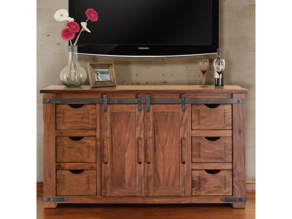 International Furniture Direct Parota 60 Tv Stand With 6 Drawers