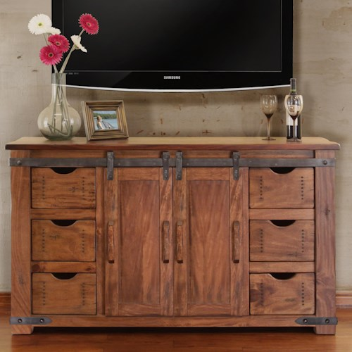 The rustic cabin parota 60 tv stand with 6 drawers for Furniture 500 companies