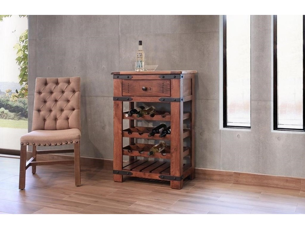 International Furniture Direct ParotaWine Bottle Holder with 1 Drawer