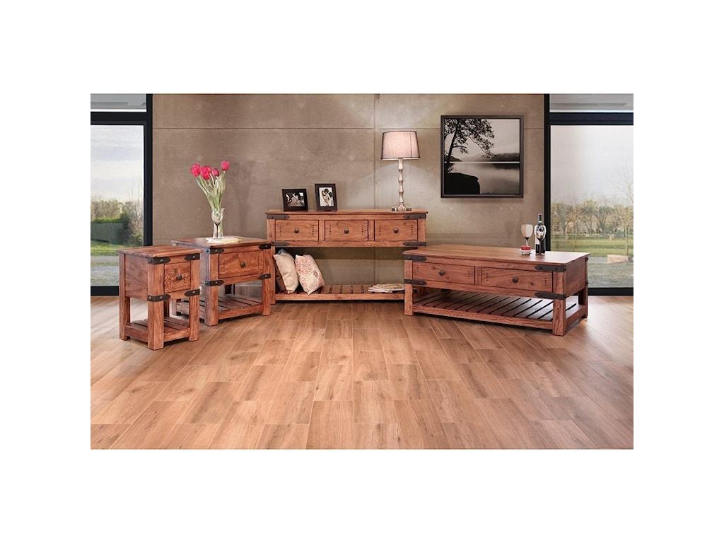 International Furniture Direct Parota3 Drawer Sofa Table