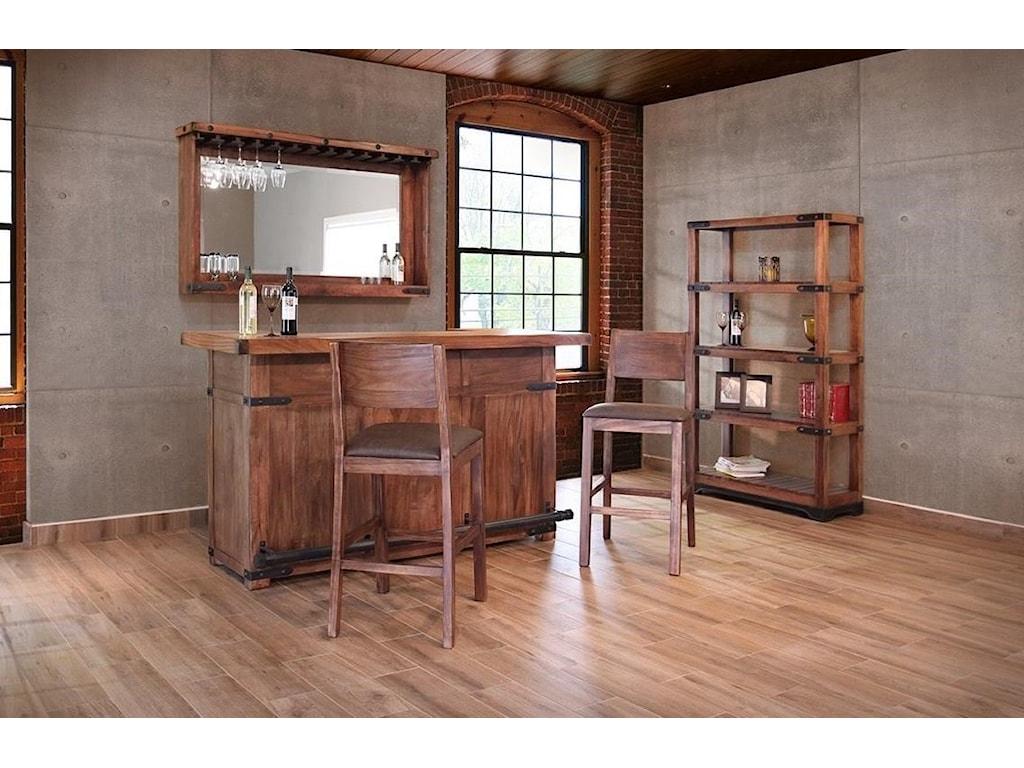 International Furniture Direct ParotaWooden Bar with Iron Footrest