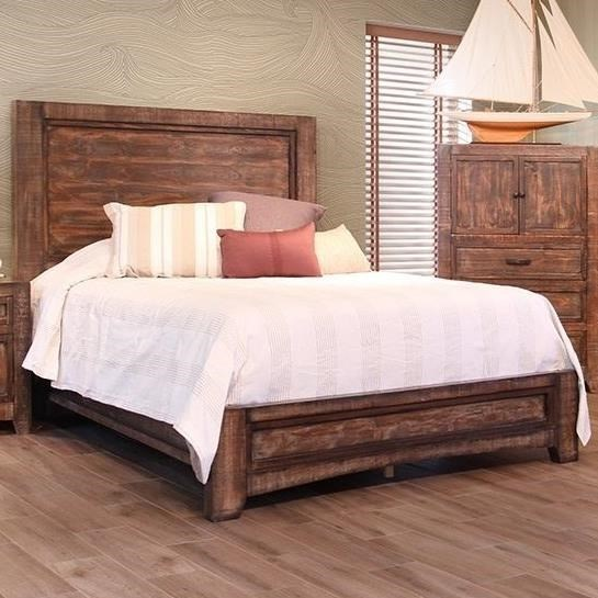 International Furniture Direct Porto Rustic Solid Wood King Low Profile Bed