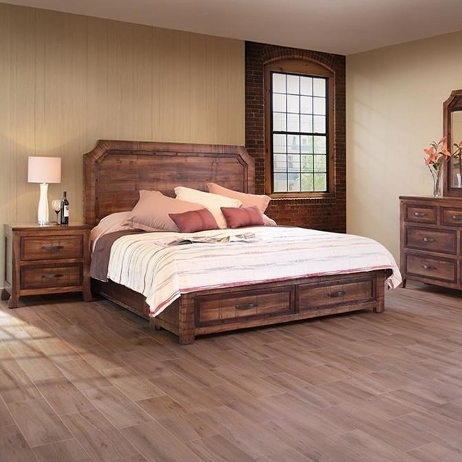 International Furniture Direct Regal Rustic King Bed With Footboard Storage