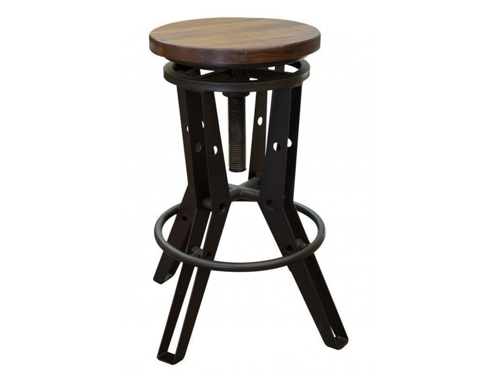 Salamanca Industrial Adjustable Height Iron Stool with Wooden Seat by  International Furniture Direct at Sam Levitz Furniture