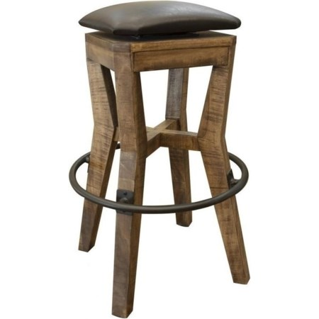 "30"" Wooden Stool with Faux Leather Seat"
