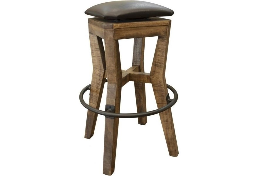 Wooden Stool With Faux Leather Seat