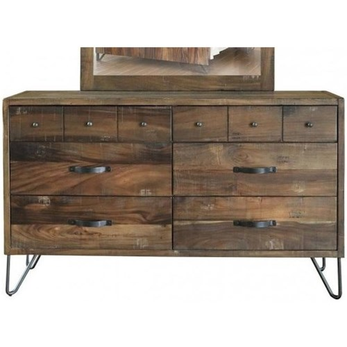 International Furniture Direct Taos Rustic Six Drawer Dresser With