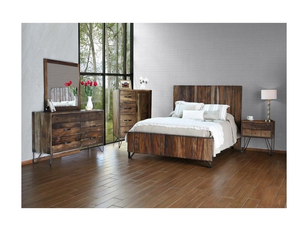 Taos Rustic Six Drawer Dresser with Hairpin Legs by International Furniture  Direct