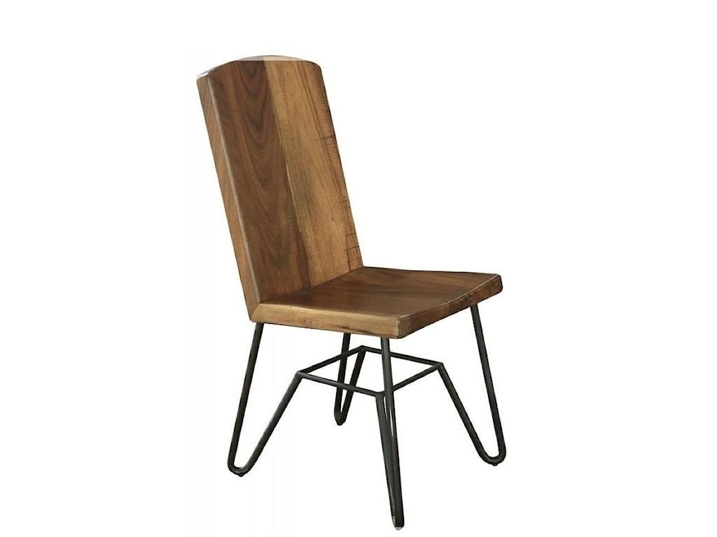 International Furniture Direct TaosSolid Parota Chair with Iron Base