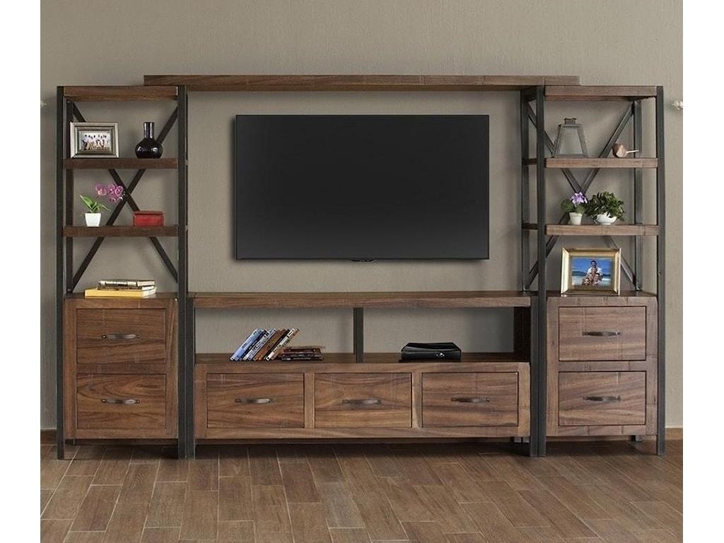 International Furniture Direct Taos Rustic Entertainment Wall Unit