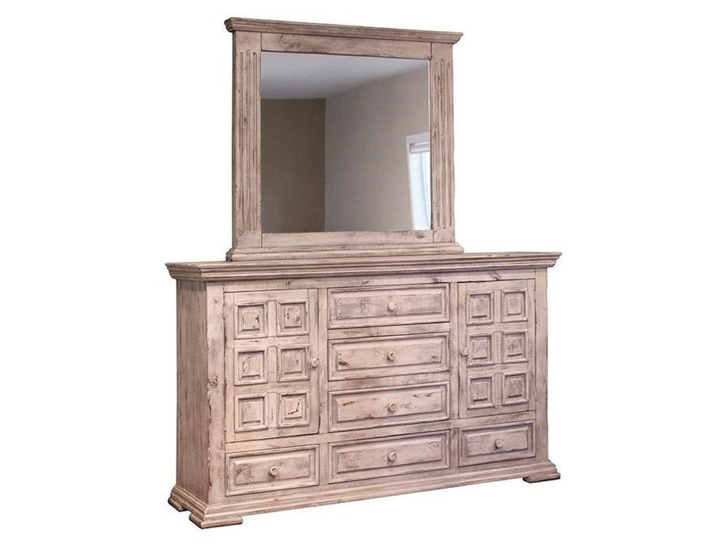 International Furniture Direct Terra Whitedresser And Mirror Set