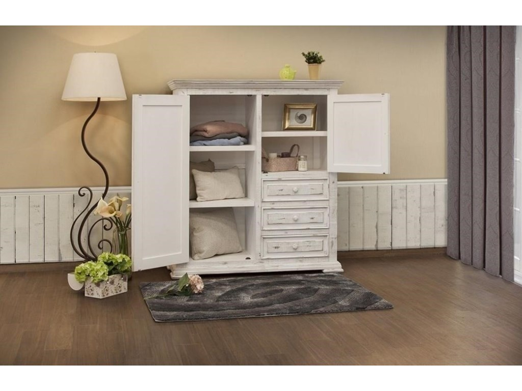 International Furniture Direct Terra WhiteGentleman's Chest with 2 Doors and 3 Drawers