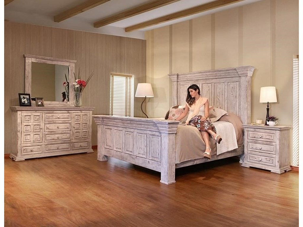 International Furniture Direct Terra WhiteKing Panel Bed