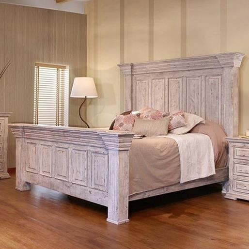 International Furniture Direct Terra White Oversized Queen Panel Bed With  Distressed Finish