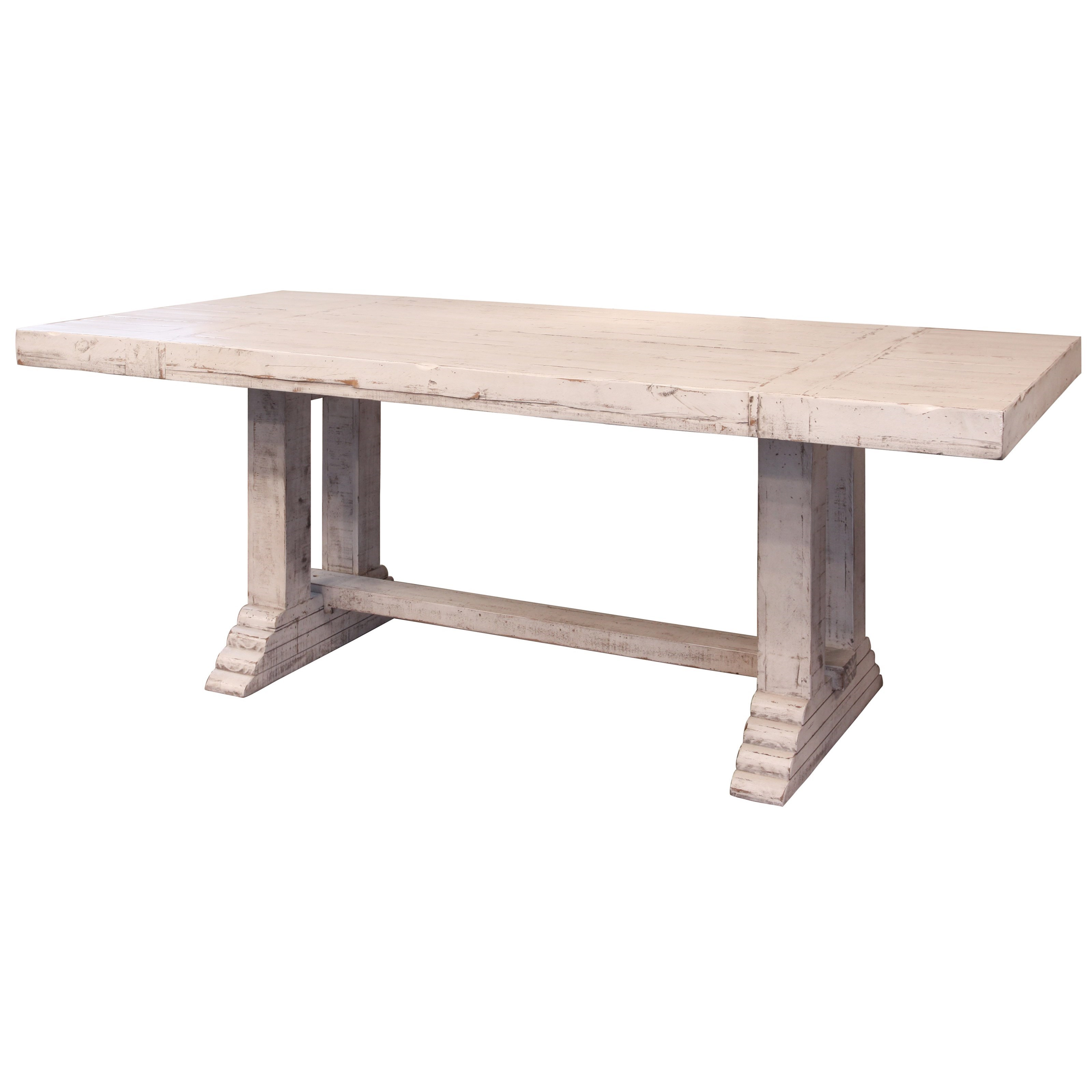 Rustic Dining Table with Double Pedestal Base