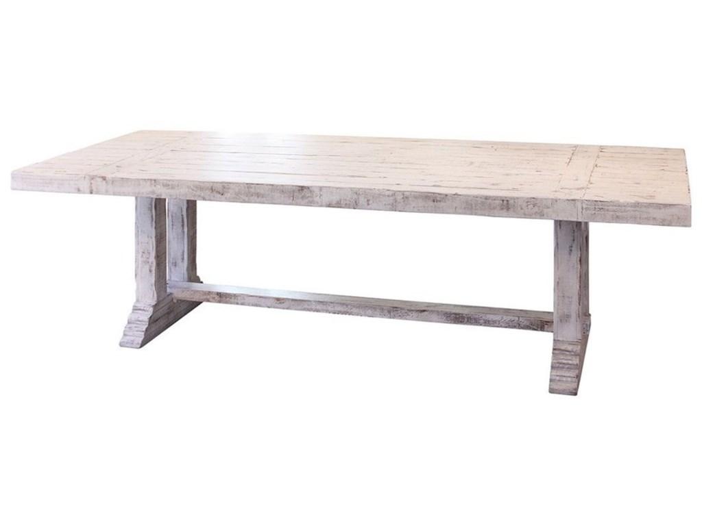 International Furniture Direct Terra White IFDTABLE Solid - Solid oak double pedestal dining table
