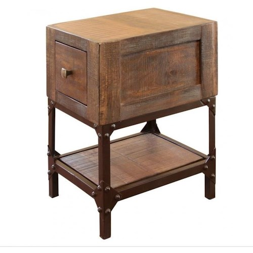 International Furniture Direct Urban Gold Rustic Chairside Table