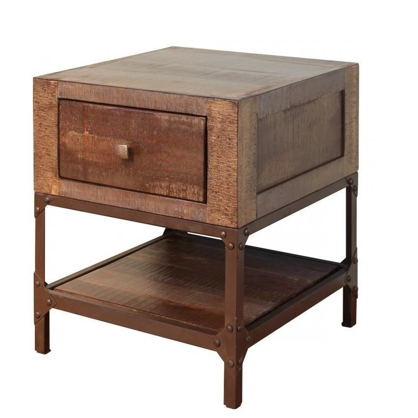 contemporary end tables. International Furniture Direct Urban GoldEnd Table With 1 Drawer Contemporary End Tables L