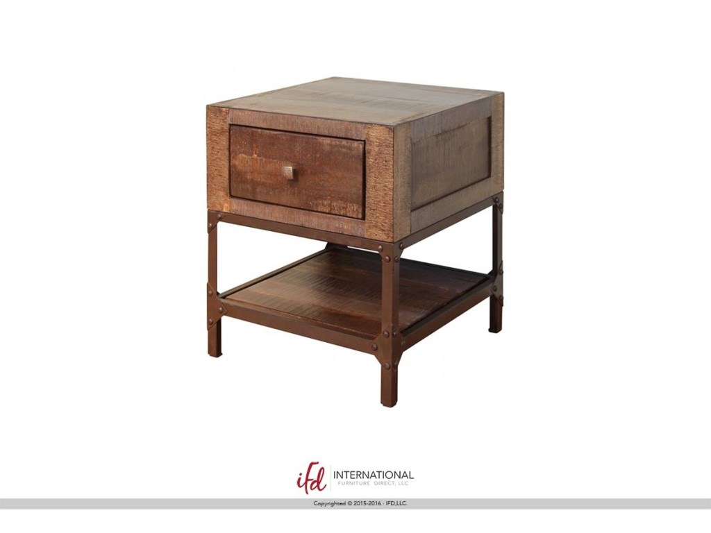 End table with drawer - International Furniture Direct Urban Gold Rustic Contemporary End Table With 1 Drawer Great American Home Store End Tables