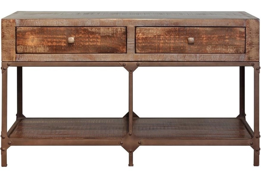 Urban Gold Rustic Contemporary Sofa Table With 2 Drawers By International Furniture Direct At Dunk Bright