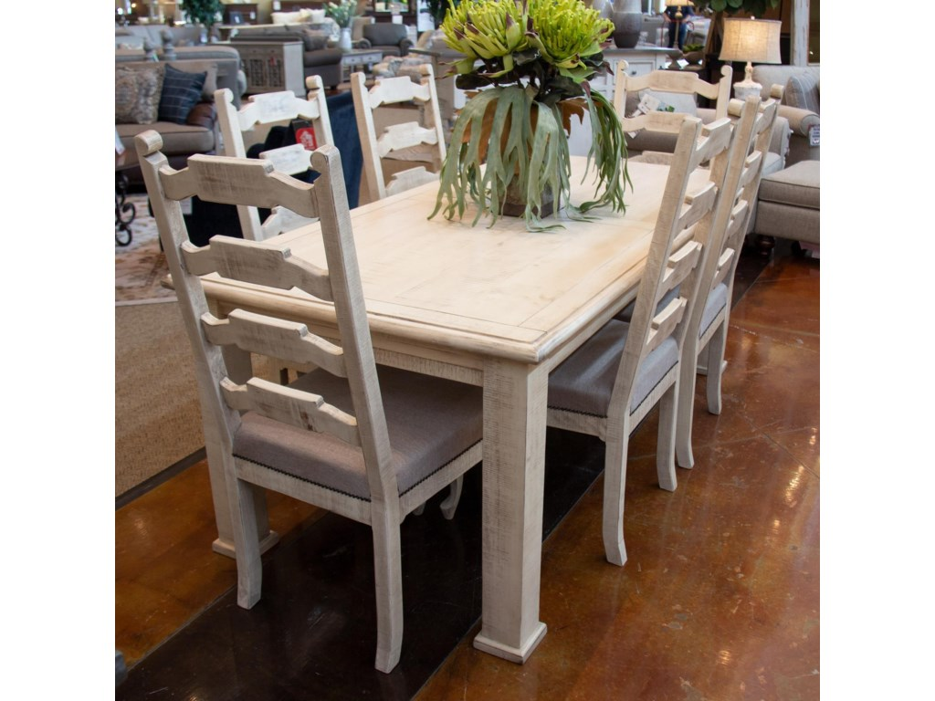 International Furniture Direct VintageWhite Leg Table and 6 Side Chairs