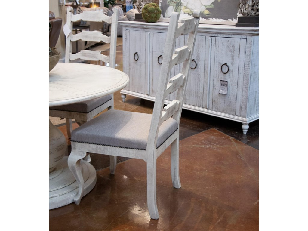 International Furniture Direct VintageWhite Round Table and Four Side Chairs